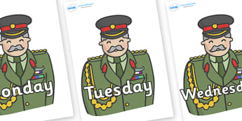 Days of the Week on Sargeants - Days of the Week, Weeks poster, week, display, poster, frieze, Days, Day, Monday, Tuesday, Wednesday, Thursday, Friday, Saturday, Sunday