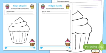 Design a Cupcake Colouring Sheets - cupcake colouring sheets, cupcakes, cakes, design a cupcake, cupcake design sheets, tea party, colouring activity