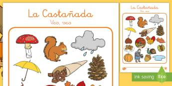 Juego de veo, veo: La castañada  - otoño, fiestas, tradiciones, castañas, castañera,Spanish