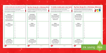 A Recipe for Winter Own Poem Worksheet / Activity Sheet English/Portuguese - Christmas, Poem, Poetry, Alliteration, Instructions, holidays, winter, worksheet, eal
