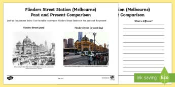 People and Places - Flinders Street Station Past and Present Activity Sheet - People and Places, Geography, English, Compare, Contrast, Venn, Diagram, worksheet, melbourne, train