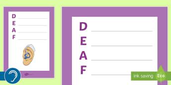 Deaf Acrostic Poem - deaf, deaf culture, deaf community, deaf identity