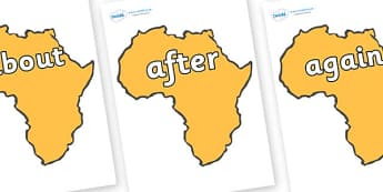 KS1 Keywords on Africa - KS1, CLL, Communication language and literacy, Display, Key words, high frequency words, foundation stage literacy, DfES Letters and Sounds, Letters and Sounds, spelling