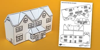 Houses and Homes Semi-Detached House Paper Model - houses, homes, semi, model