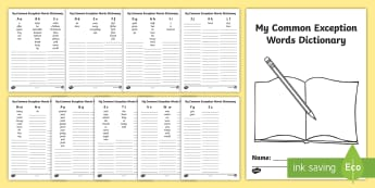 My Common Exception Words Dictionary - ks1 tricky words, ks1 spelling, spelling booklet