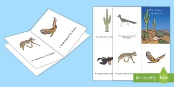 Desert Habitat Emergent Reader - desert habitat, desert, desert animals, habitats, emergent reader, desert emergent reader, pre-k lit