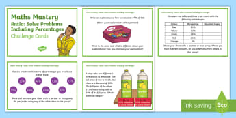 Year 6 Ratio: Solve Problems Involving Percentages Maths Mastery Challenge Cards - Year 6 Maths Mastery, ratio, proportion, percentages, pp, ppt