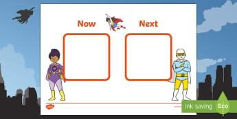 Superhero-Themed Now and Next Visual Aid -  Tense, KS1, Key Stage One, SEN, Nautical, Board, Individual, Group, Visual, Aid, Organisation