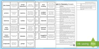 Edexcel Key Concepts in Chemistry Loop Cards - isotopes, avogadro's constant, empirical formula, John Dalton, Protons, exams, gcse, edexcel, chemi