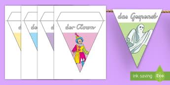 Faschingskostüme Fahnengirlande für die Klassenraumgestaltung - Fasching, Fastnacht, Karneval, Kostüme, Verkleidung, Fahnengirlande,German