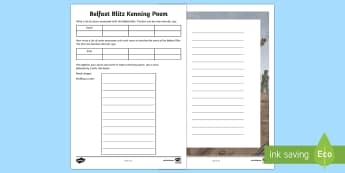 Belfast Blitz Kenning Poem Writing Activity Sheet - World Around Us KS2 - Northern Ireland