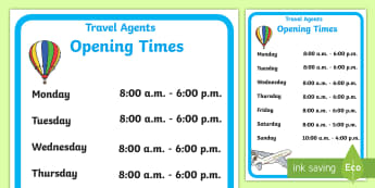 Home Living Travel Agent Role-Play Opening Times - travel agent, opening times, role-play, display, pretend, time, display, sign, bulletin board