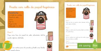 Manualidad: Pirata con tubo de cartón - Pirata, piratas, tesoro, tesoros, aventura, aventuras, mar, marítimo, juego, juegos, rol, roles, is
