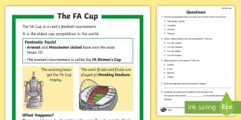 KS1 FA Cup Differentiated Reading Comprehension Activity - Football, Sport competition, P.E., Boys interests, Facts, Information, Non-fiction, Questions