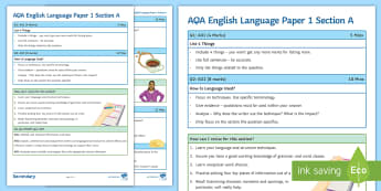 AQA English Language Paper 1 Section A Support Guide - AQA, paper 1, section A, AO1, AO2, AO4,  AQA revision, AQA English, Exam revision, exam guidance, Pa
