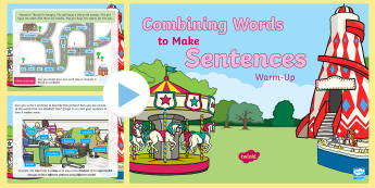 Year 1 Making Sentences Warm-Up PowerPoint - Spag, revision, morning starter, combine, words