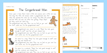 The Gingerbread Man Differentiated Reading Comprehension Activity - Gingerbread Man, USA, traditional tale, story, fairy tale, fairy story