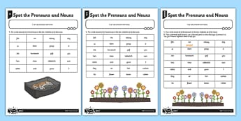 Spot the Pronouns and Nouns Differentiated Worksheet / Activity Sheet Pack - GPS, punctuation, grammar, spelling, planning, cohesion, repetition, worksheet