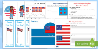Flag Day Bumper Activity Pack - USA, Star Spangled Banner, Betsy Ross, American Flag
