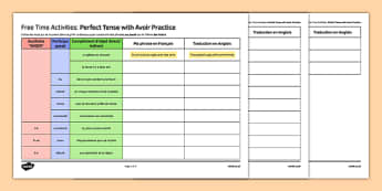 Free Time Themed Perfect Tense with Avoir Practice Worksheet / Activity Sheet French - leisure, hobbies, pastimes, loisirs, passe-temps, passé, composé