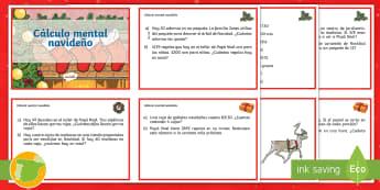 Tarjetas de desafío de matemáticas: Calculo mental Navideño  - cuarto, primaria, 4, colegio, estudiantes, alumnos, recursos, profesores, escuela, calculo mental, s