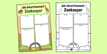 Zoo Job Advertisement Writing Frame - zoo, job, advertisement, role-play, play
