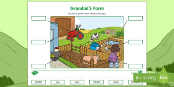 Grandad's Farm Cut and Paste Labelling Activity Sheet - worksheet, Aistear, Exploring My World, Story, Farm, Animals, Tractor, Pig, Cow, Chicken, Literacy,
