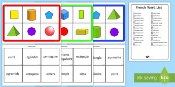 2D and 3D Shape Bingo - 2D and 3D Shape Bingo French - french, 3d 2d, shape, bingo, 3d, shape, 2d shape, activity, game,3dsh