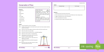Conservation of Mass Investigation Instruction Sheet - practical, chemistry, magnesium, magnesium oxide, substances, chemical change, Conserving mass
