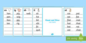 Onset and Rime List Challenge Cards - onset and rime, rhyming, rhyme, sounds, vocabulary,Australia