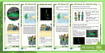 KS1 St. Patrick's Day Differentiated Fact File - St Patrick's Day, saint patrick, patron saint, ireland, reading, understanding, irish week,