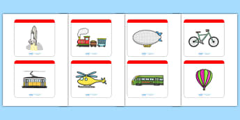 Transport Matching Cards - Transport, matching cards, sorting cards, cards, word card, flashcard, word cards, car, van, lorry, bike, motorbike, plane, aeroplane, tractor, truck, bus