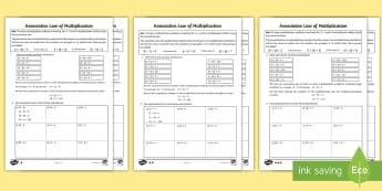 KS2 Associative Law Multiplication Differentiated Activity Sheets - Maths, Multiplication, Times Tables, Commutative Law, Associative Law, Brackets, worksheets