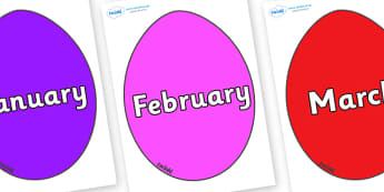 Months of the Year on Easter Eggs (Plain) - Months of the Year, Months poster, Months display, display, poster, frieze, Months, month, January, February, March, April, May, June, July, August, September