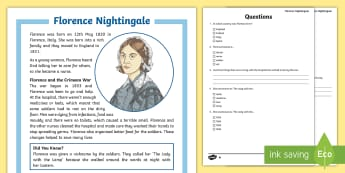 Florence Nightingale Differentiated Reading Comprehension Activity - KS2 Florence Nightingale's Birthday (12.5.17), 12th May, KS2 Literacy, ks2 literacy, KS2 reading co