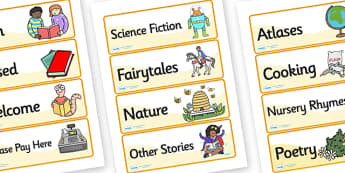 Book Shop Role Play Labels - book shop, books, book shop genre labels, book shop role play, book shop display labels, book genre signs, book genre labels