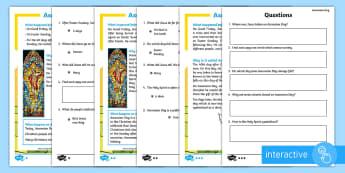 KS1 Ascension Day Differentiated Comprehension Go Respond Activity Sheets - KS1, Key Stage One, Year 1, Year 2, Year One, Year Two, Ascension day, (25.5.17), Jesus, Easter, Goo