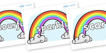 Wow Words on Rainbows - Wow words, adjectives, VCOP, describing, Wow, display, poster, wow display, tasty, scary, ugly, beautiful, colourful sharp, bouncy