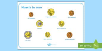 Monete in euro Vocabolario Illustrato - le, monete, euro, monetine, contare, conta, europa, soldi, denaro, italiano, italian, materiale, sco