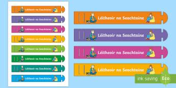 Reader of the Week (Léitheoir) Wristband Gaeilge - Certificates, Irish, Gaeilge, ag léamh, reading, léitheoir, reader of the week, léitheoir na seac