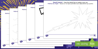 New Years Pencil Control Activity Sheets English/French - new years, pencil control, sheets, pencil, control, happy new year