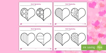 Valentine's Day Heart Symmetry Worksheets - symmetry, sheets, symmetry sheets, valentines day, valentines, heart, love heart, heart symmetry, reflection, creating symmetry, numeracy, math, shapes, symmetry activity