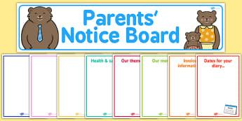 Childminder Parents' Notice Board Pack - childminder, parent, pack