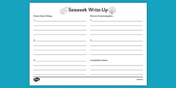 Under the Sea Write Up Worksheet