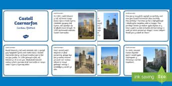 Castell Caernarfon Cardiau Ffeithiol - castell caernarfon, caernarfon castle, Gogledd Cymru, North Wales, Owain Glyndwr, Edward 1af, Edward