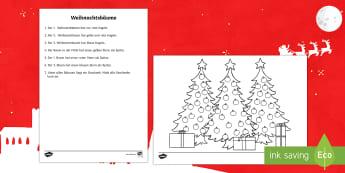 DE Weihnachtsbäume Worksheet / Activity Sheet-German - DE EYFS Christmas,German