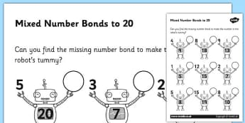 Mixed Number Bonds to 20 on Robots Activity Sheet - number bonds, math, Number bonds to 20, addition, subtraction