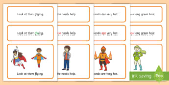 Superhero Simple Sentence Cards - Superheroes, Sentences, sentence cards, reading, phonics, eyfs, literacy, letters and sounds, sound