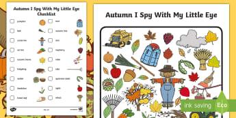 Autumn Themed I Spy With My Little Eye Activity - season, weather