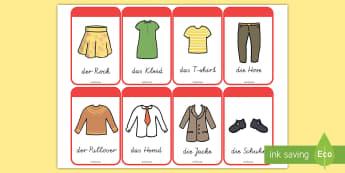 Kleidung Wortschatz: Wort- und Bildkarten - Kleidung, Kleider, Klamotten, Kleidung Wortkarten, Kleidung Bilderkarten, Kleidung Klassenraumgestal